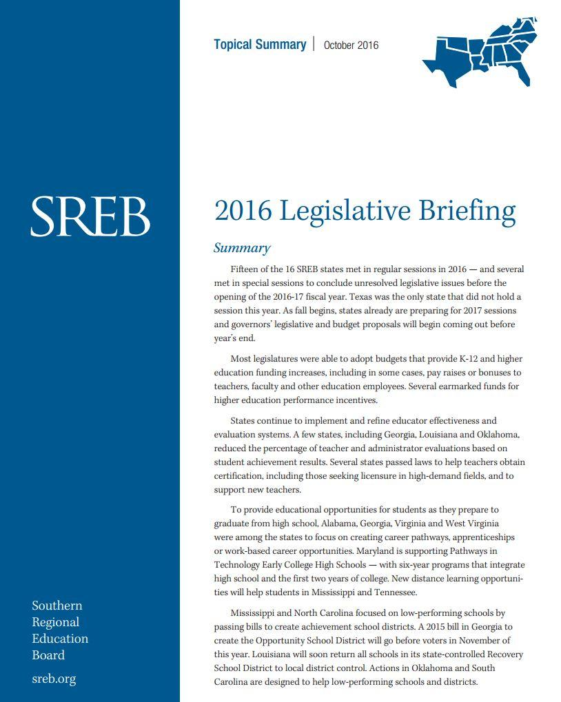 2016 Legislative Briefing Southern Regional Education Board
