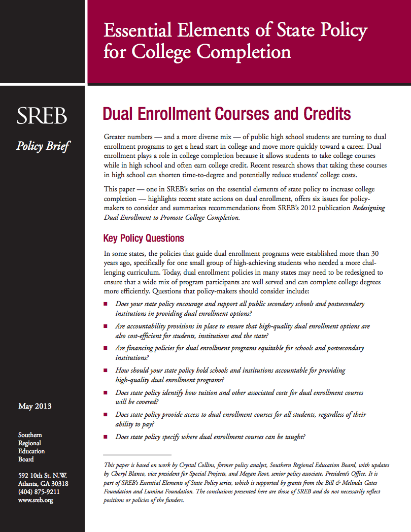 Dual Enrollment Courses And Credits Southern Regional Education Board