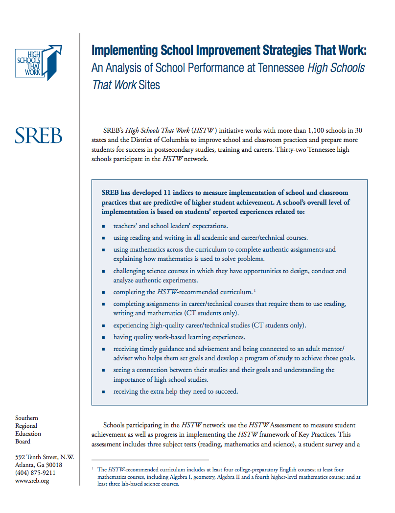 Implementing School Improvement Strategies That Work - Southern ...