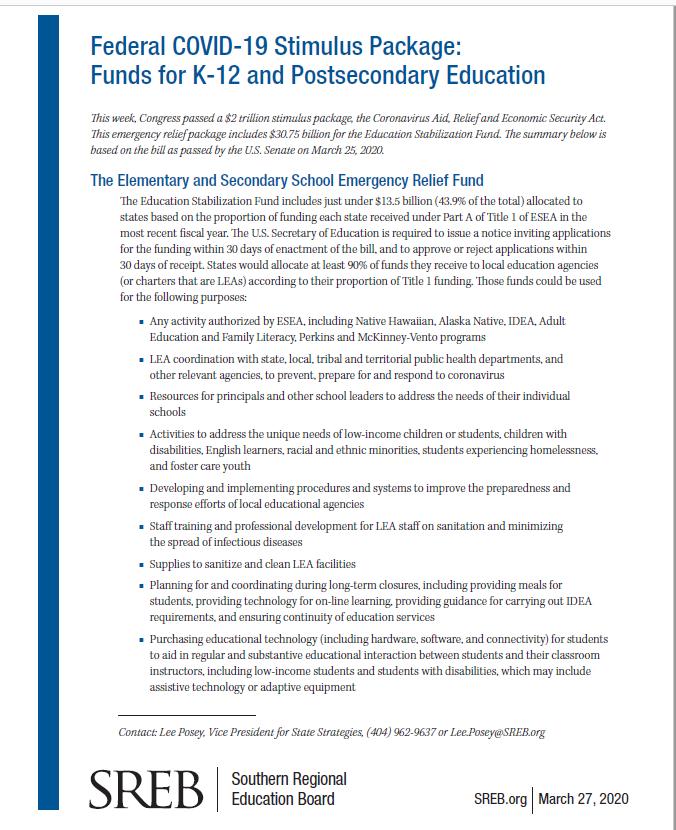 Federal Covid 19 Stimulus Package Southern Regional Education Board