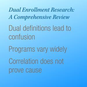 Dual Enrollment Research: A Comprehensive Review. Dual definitions lead to confusion. Programs vary widely. Correlation does not prove cause.