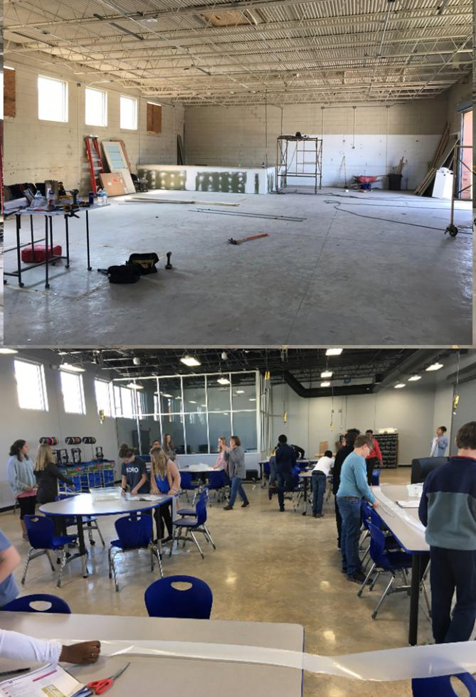 Before and after photographs of DCS's STEAM lab.