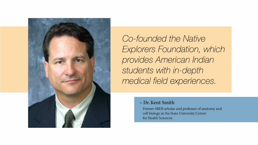 A portrait of Dr. Kent Smith. He co-founded the Native Explorers Foundation which provides American Indian students with in-depth medical field experiences.