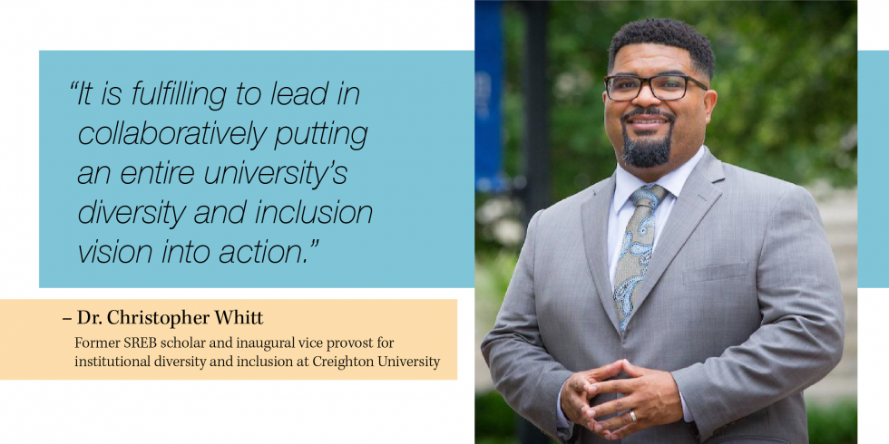 "A portrait of Dr. Christopher Whitt with a quote, ""It is fulfilling to lead in  collaboratively putting  an entire university's diversity and inclusion  vision into action."""