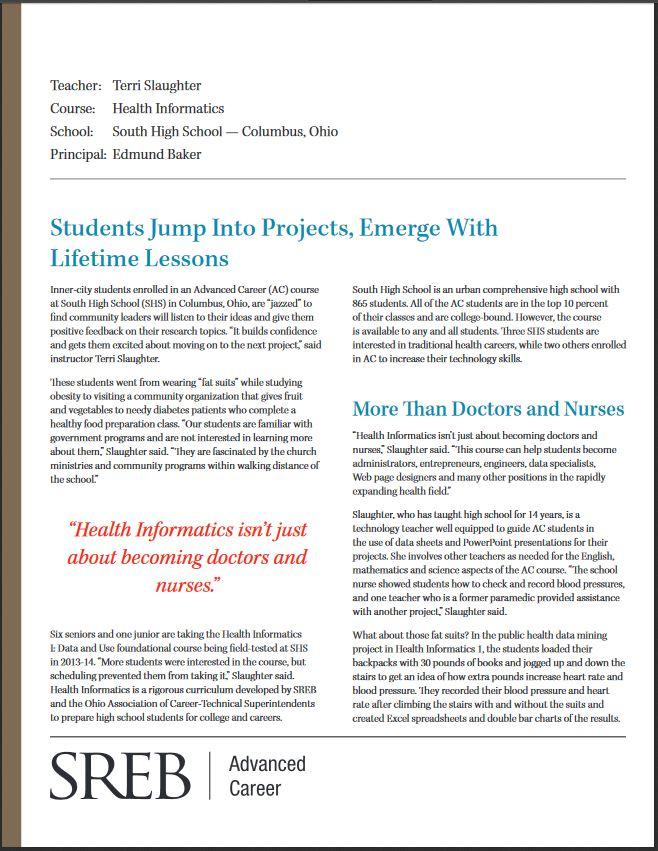 Health Informatics At South High School In Columbus Ohio Southern