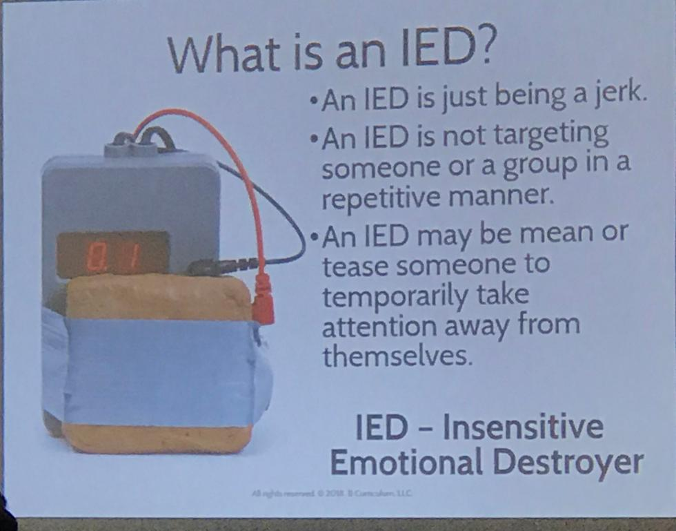 Slide from Cassidy and Hankins conference presentation representing an IED