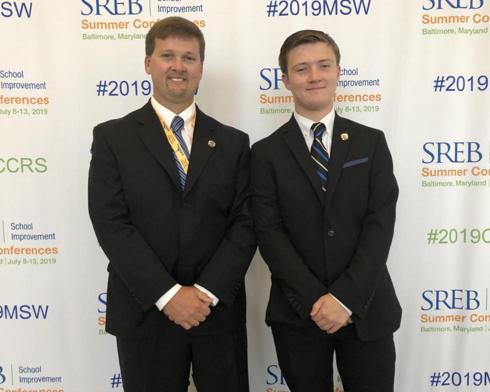 Superintendent Kyle Kallhoff and his son Carson co-presented at SREB's 2019 Making Schools Work Conference in Baltimore.