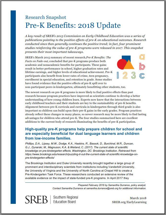 Research Snapshot | Pre-K Benefits: 2018 Update
