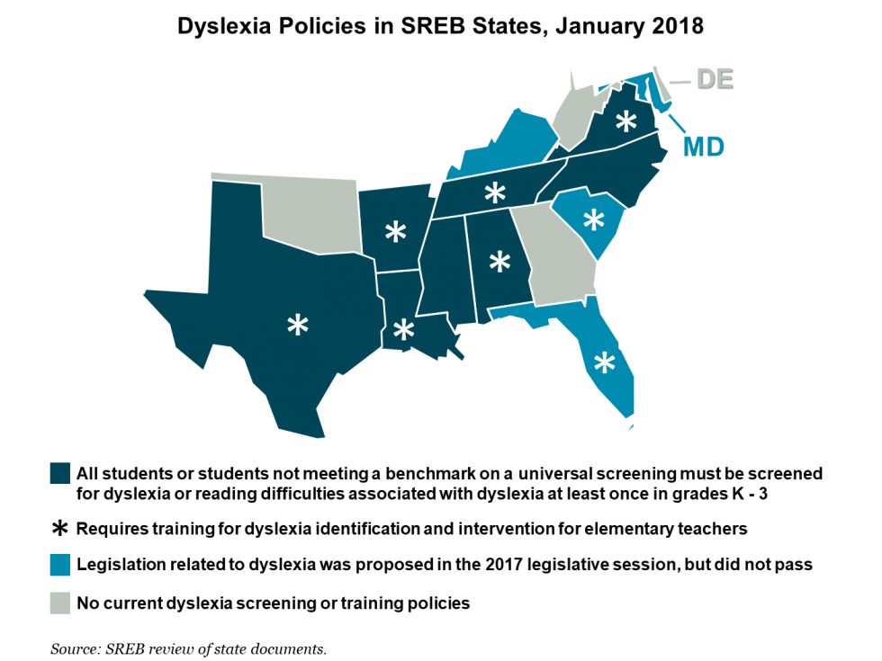 Dyslexia policies in SREB states, January 2018