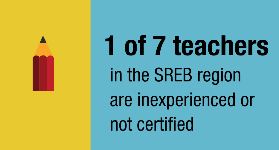 1 of 7 teachers in the SREB region are inexperienced or not certified
