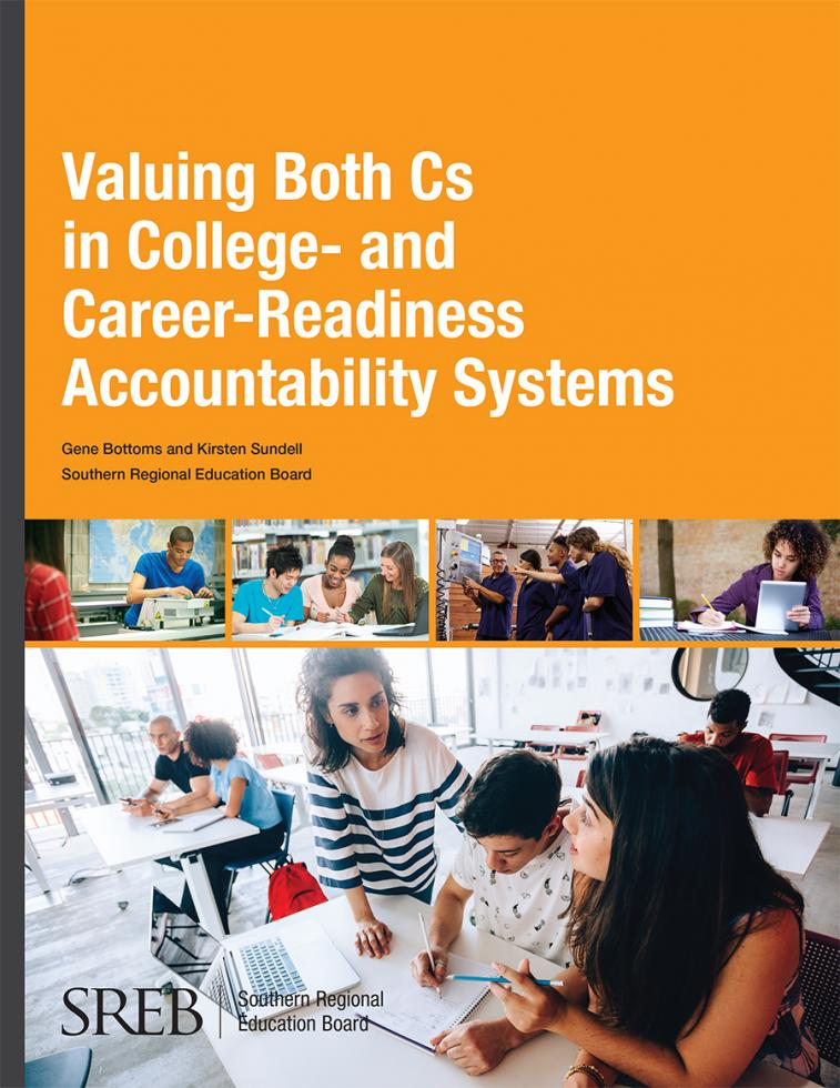 This image is the cover of the Valuing Both Cs in College- and Career-Readiness Accountability Systems publication.