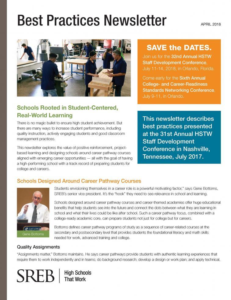 Best Practices Newsletter Southern Regional Education Board