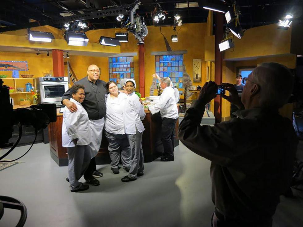 Chef Kevin Belton on set at WYES