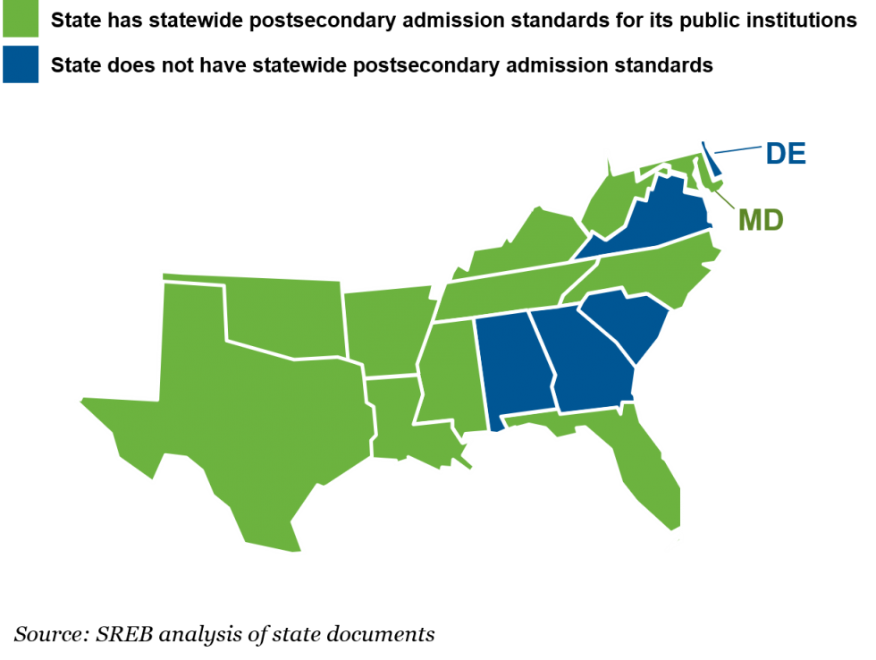 Map of the SREB Region: Alabama, Georgia, South Carolina, Virginia and Delaware do not have statewide postsecondary admissions standard. All other SREB states do.