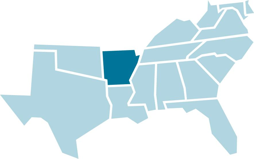 SREB regional map with Arkansas highlighted in blue