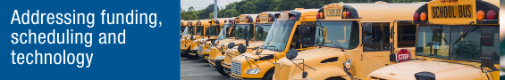 Picture of school buses with caption Addressing logistics and economic concerns
