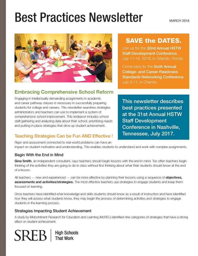 Best Practices Newsletter Southern Regional Education Board