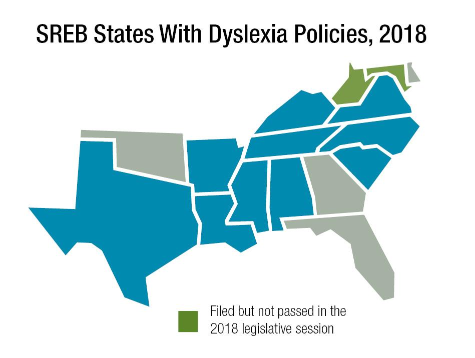 A map showing which states in the SREB region had dyslexia policies in 2018