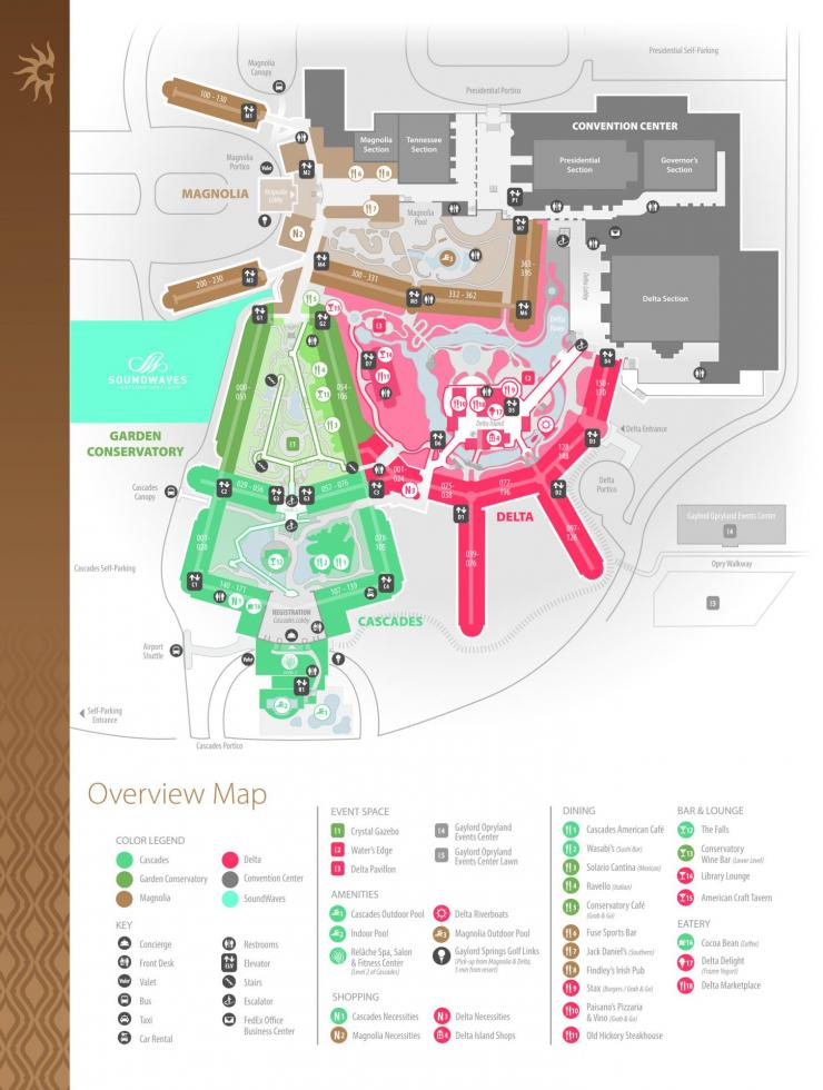 Gaylord Opryland complete venue map