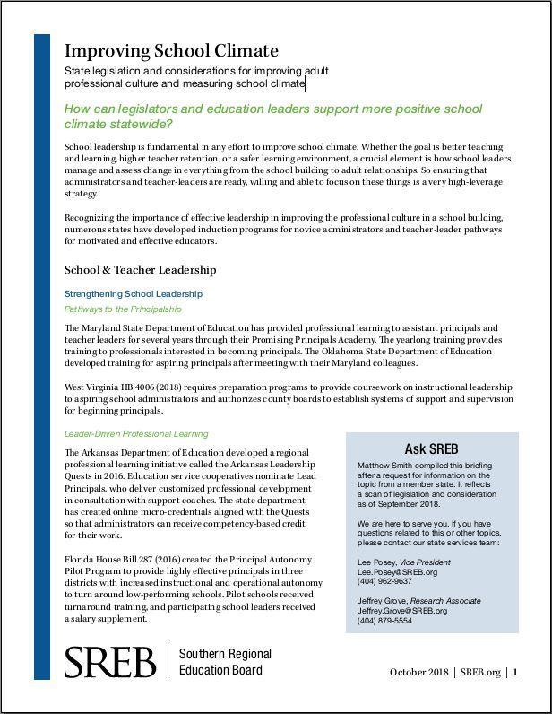 Legislative Actions on Education - Southern Regional Education Board