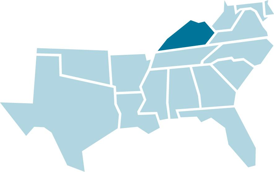 SREB regional map with Kentucky highlighted in blue