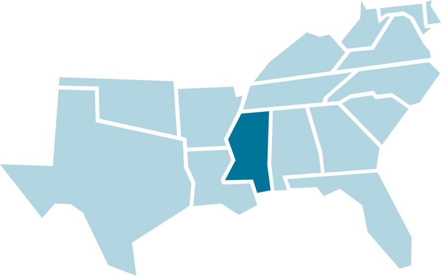 SREB regional map with Mississippi highlighted in blue