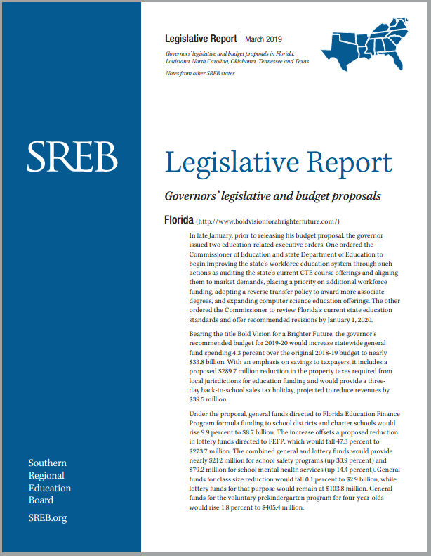 Legislative Actions on Education - Southern Regional Education Board