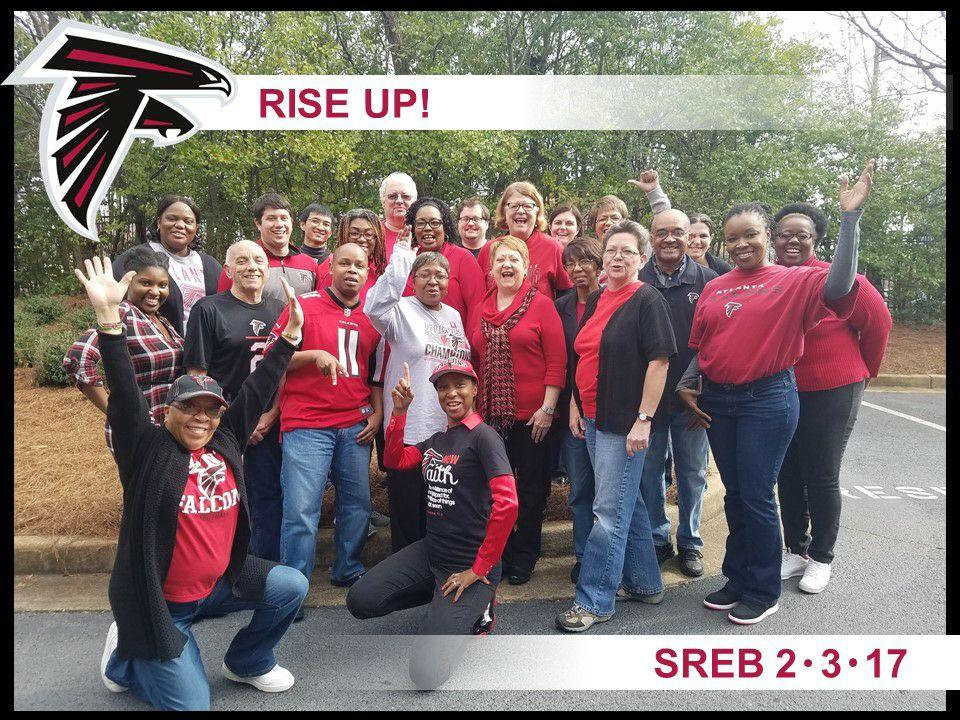 Picture of SREB staff members celebrating the Atlanta Falcons