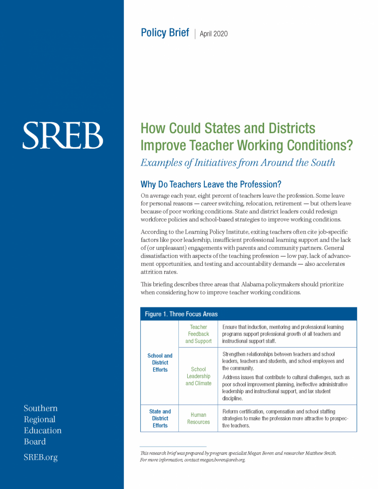 how could states and district improve teacher working conditions report cover
